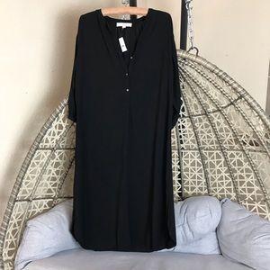 Loft Ann Taylor Button Down Shirt Dress - Black
